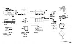 Table structure detail CAD furniture block layout file in autocad format