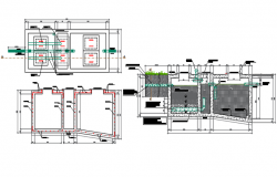 Tank elevation and section working plan detail dwg file
