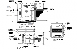 Tank plan, elevation and section detail dwg file