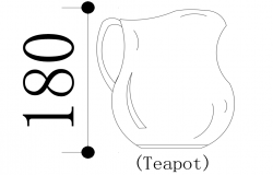 Tea pot design with interior view dwg file
