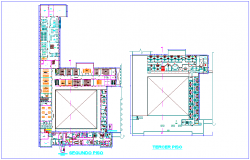 Technical collage second and third floor plan with architectural view dwg file