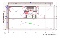 Technical floor plan with office design dwg file