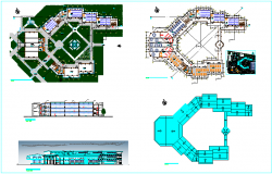 Technological educational institute plan,elevation and section view dwg file