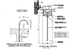 Telephone aerial service detail and earth well detail dwg file