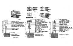 Telephone poles electric installation and auto-cad details dwg file