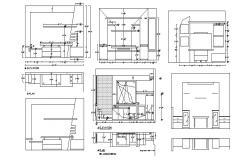 Television cabinet elevation, plan and auto-cad details dwg file