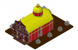 Temple 3d elevation design