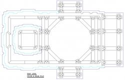 Temple Column And Beam Roof Level Plan AutoCAD File