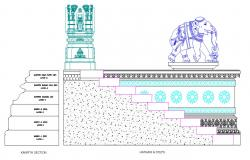 Temple Staircase With Carving Elevation Design AutoCAD File