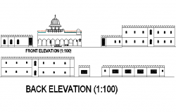 Temple elevation detail dwg file