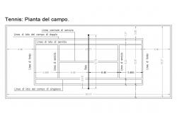 Tennis ground measures cad drawing details dwg file