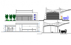 Terminal mall side elevation and side sectional details dwg file