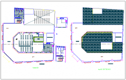 Terrace and roof plan view of government building dwg file