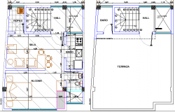 Terrace and structural layout of single family house  plan dwg file