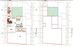 Terrace layout plan of a corporate building structure dwg file