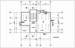 Terrace plan of bungalows with architectural view dwg file