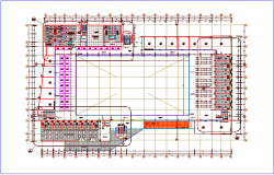 Terrace plan of zonal market with architectural view dwg file