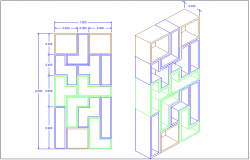 Tetris design view with isometric view for interior view dwg file