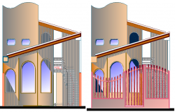 The Architecture Design of Kinder Garden Elevation dwg file