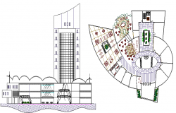 The Architecture Layout of Commercial Building dwg file