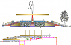 The Architecture Layout of Government Museum Elevation dwg file