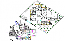 The architecture layout plan details of bank building dwg file
