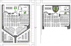 The architecture layout plan details of shopping center dwg file