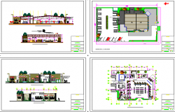 The architecture project details of multi-level bank office dwg file
