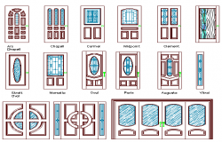 The architecture project of traditional door design dwg file