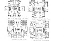 The layout of high rise building plan detail dwg file,