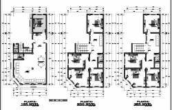 The layout of three floors plan detail detail dwg file,