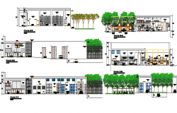 Theme five star hotel section and elevation details dwg file