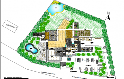 Theme restaurant landscaping and site plan details dwg file