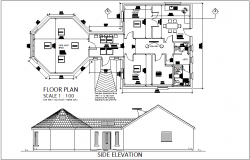 Therapy center plan and elevation view with dimension dwg file