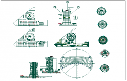 Thermal power generator house chimney detail view dwg file