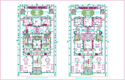 Third  and fourth floor plan of apartment  dwg file