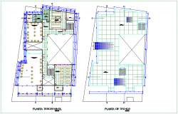 Third and ceiling floor plan of community center dwg file