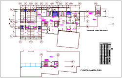 Third and floor plan view of hospital with door and window schedule dwg file