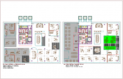 Third and fourth floor plan of bank head quarter with architectural view dwg file