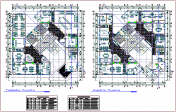 Third and fourth floor plan of municipal building with door and window detail dwg file