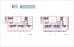 Third and fourth floor plan with view of commercial building view dwg file