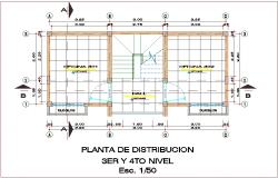 Third and fourth level distribution plan for office dwg file