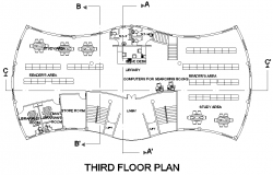 Third floor education center plan detail dwg file