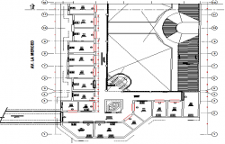 Third floor layout plan details of urban area industrial plant dwg file