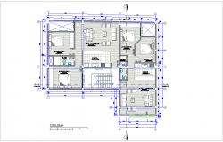 Third floor plan of architectural view of family housing dwg file