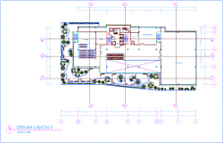 Third floor plan of architectural view of office dwg file
