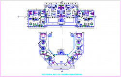 Third floor plan of commercial complex dwg file