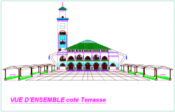 Thracian mosque view in terrace side dwg file