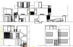 Three Flooring Full House Project Section and Elevation dwg file