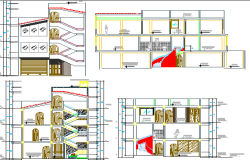 Three Flooring Housing Elevation and Section Details dwg file